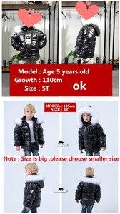 Image 3 - אופנה חורף מעיל למטה מעיל לבן בגדי 2 8 y בגדי ילדים לעבות הלבשה עליונה ומעיילים עם טבע פרווה ילדי דובון