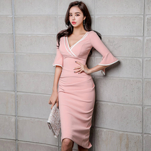 New Arrival Pink Fall Clothes Bodycon Dress Women Half Flare Sleeve Wrap Midi Dresses Ladies Solid Empire Sexy Party