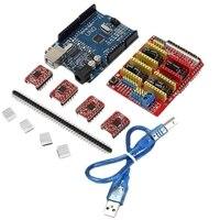 Cnc shield Uno-R3 placa 4xa4988 driver kit com dissipador de calor para arduino gravador impressora 3d