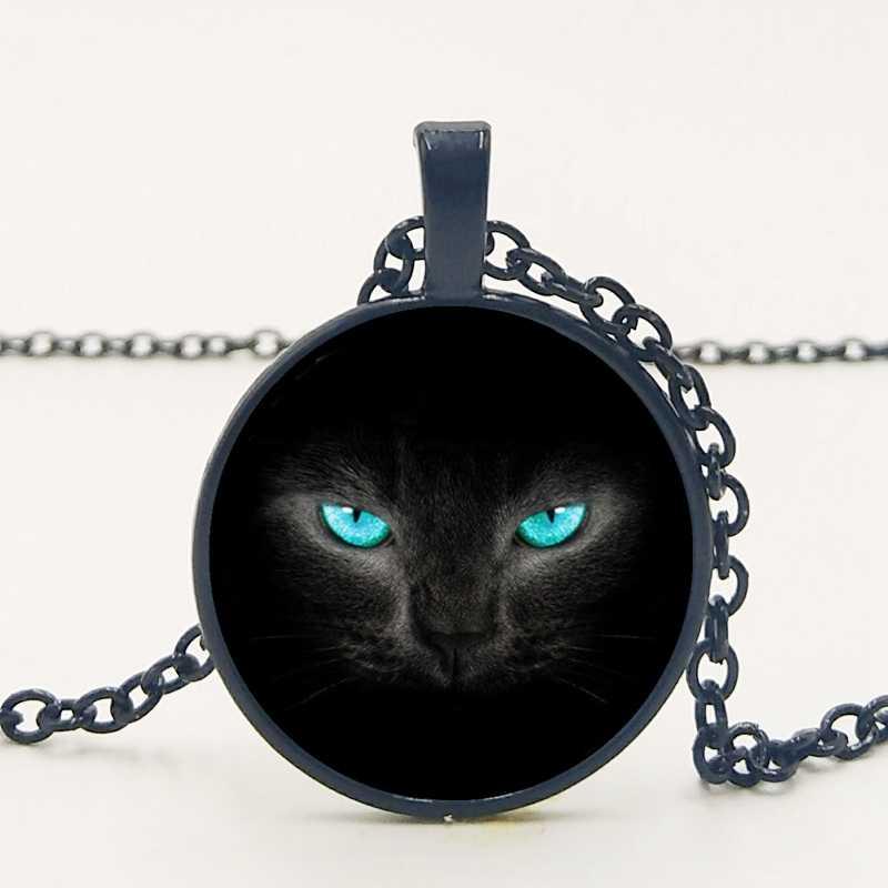 בעבודת יד חדשה רטרו מעודן אביזרי סגסוגת זכוכית כחול עיניים שחור חתול זמן תליון שרשרת משפחה תמונה מנהג פרטי