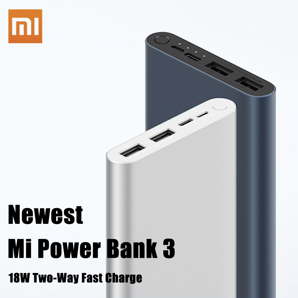 Xiaomi Original Mi Power Bank 3 2 18W 10000mAh Quick Charge Dual USB Aluminium Powerbank Fast