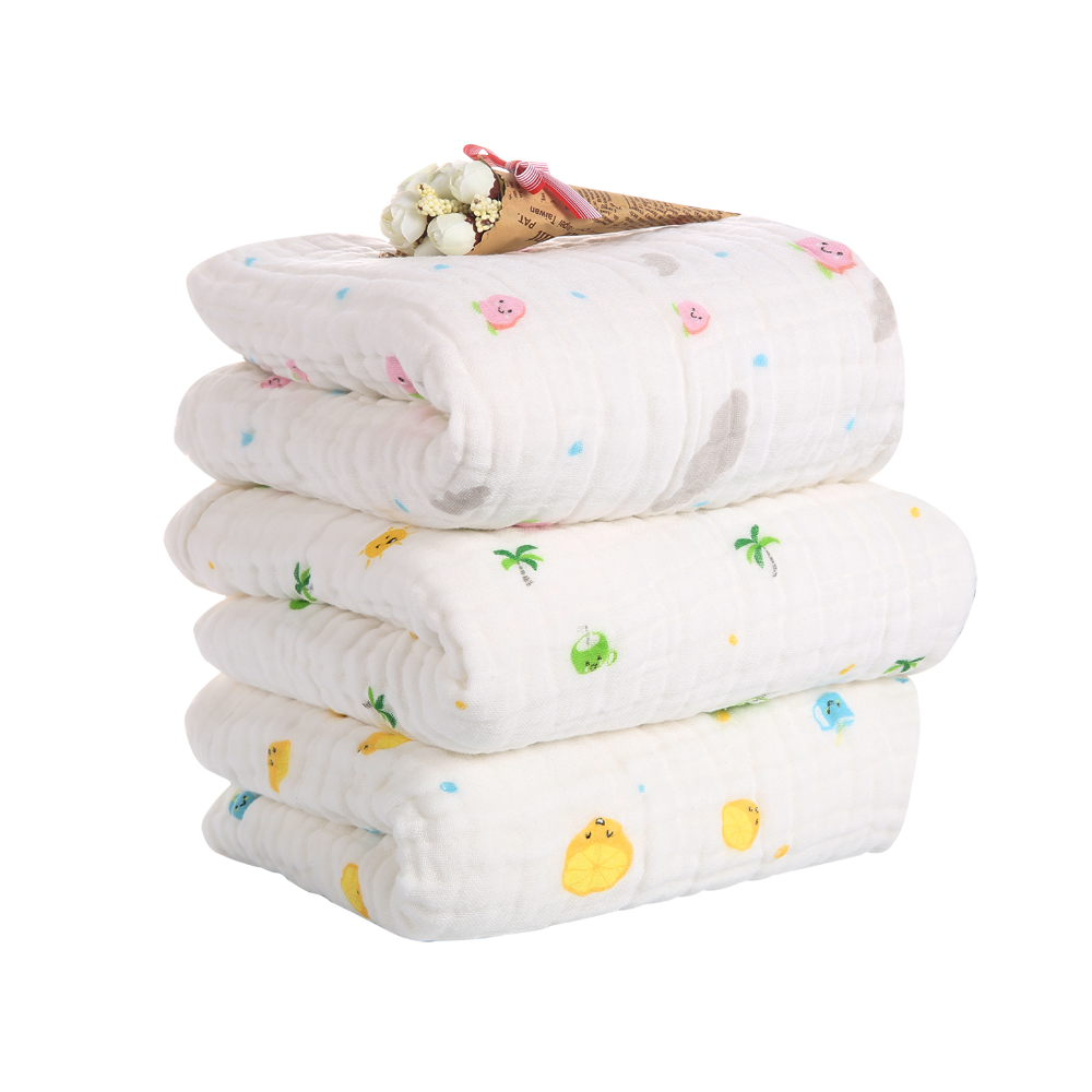 Baby Bath Towel Baby Cotton Bubble Gauze 6 Layers  Washcloth Baby Blankets Child Towel Soft And Strong Water Absorption105X105Cm