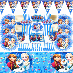 Princess Party Supplies Cup Plate Hat Flags Frozen Princess Snow Queen Theme Kids Girl Happy Birthday Party Decor Tableware Sets