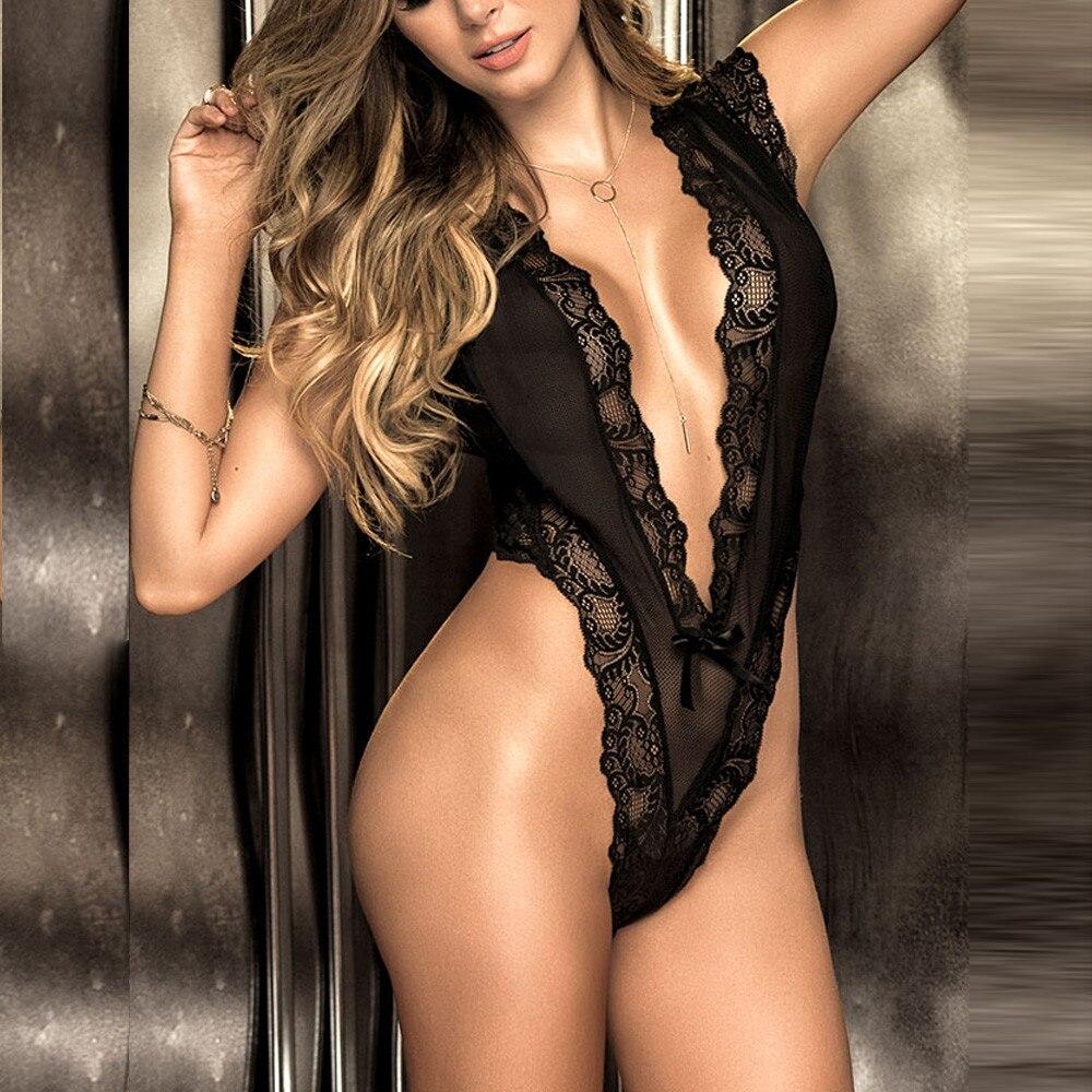 Haada5e1c385a4e26ac4eca24b9e712f9F Hot Sexy Women Bra Set Sexy Lace Deep V Erotic Underwear Lingerie Black Solid Transparent Bra Set Lingerie G-string Sleepwear @5
