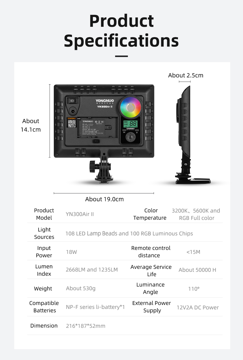 Haada61af185949b68cb22c47517400f88 YONGNUO YN300AIR II RGB LED Camera Video Light,Optional Battery with Charger Kit Photography Light + AC adapter