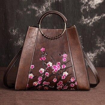 Real Cowhide Embossed Female Shoulder Tote Bucket Bags Brush Color Leisure Designer Handbag Genuine Leather Women Top Handle Bag