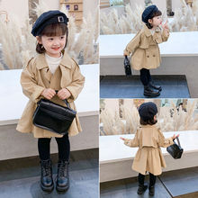 3-11 Years Spring Fall Baby Girls Korean Style Kawaii Trench Toddler Mid-long Jacket Long Sleeves Children Clothing Outerwear