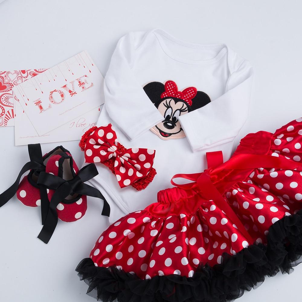 Infant Clothing 4pcs sets White Long Sleeve Rompers Red Tutu Skirt Ruffle Pettiskirt Shoes Headband Baby Girls Clothes YK&Loving