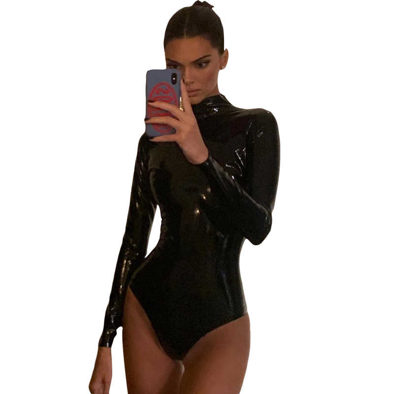 Sisterlinda ผู้หญิง PU หนัง Leotard บอดี้สูทแขนยาวสาวปีบอดี้สูทเซ็กซี่ Mujer Rompers แฟชั่นชุดว่ายน้ำ 2019