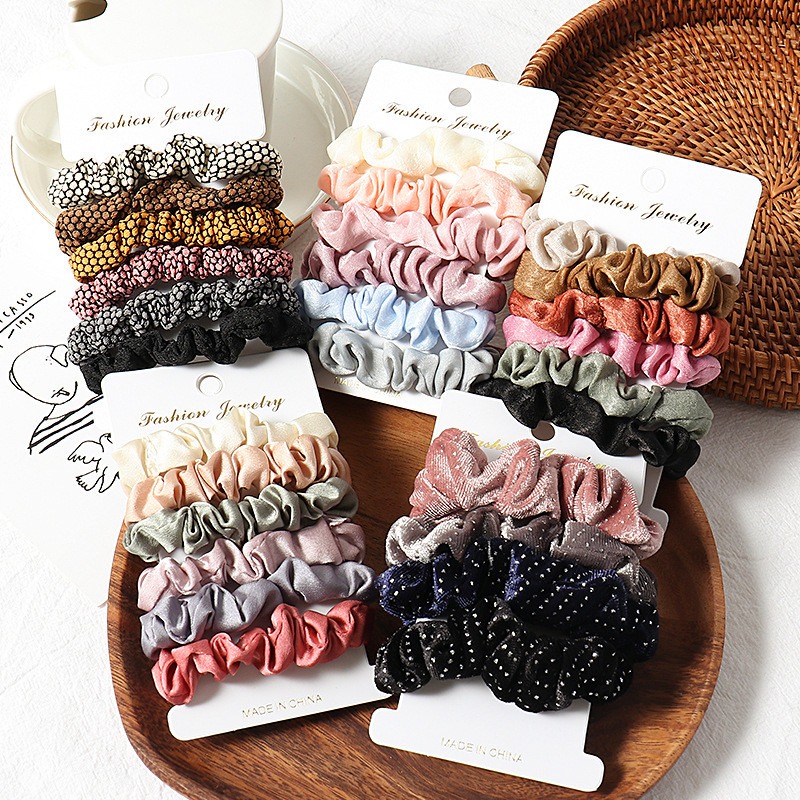 Free Shipping Fashion Ins Winter Women Basic Scrunchies Girl's Hair Bands Ponytail Holder Hair Accessories