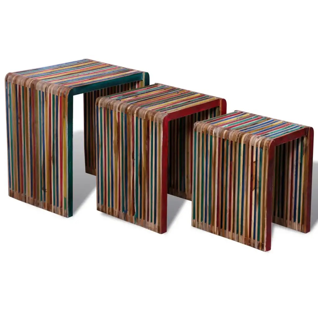 VidaXL Nesting Table Set 3 Pieces Colourful Reclaimed Teak Dining Room Furniture Stools For Coffee Table Save Space Chairs