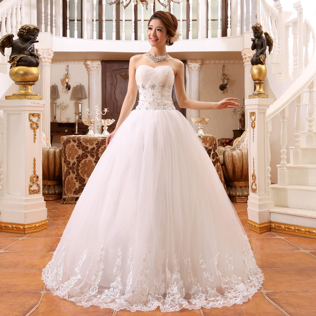 Sexy Wedding Dress Bridal Gown Bride Strapless Plus Size Satin Wedding Dresses Large Size Embroidery Dress
