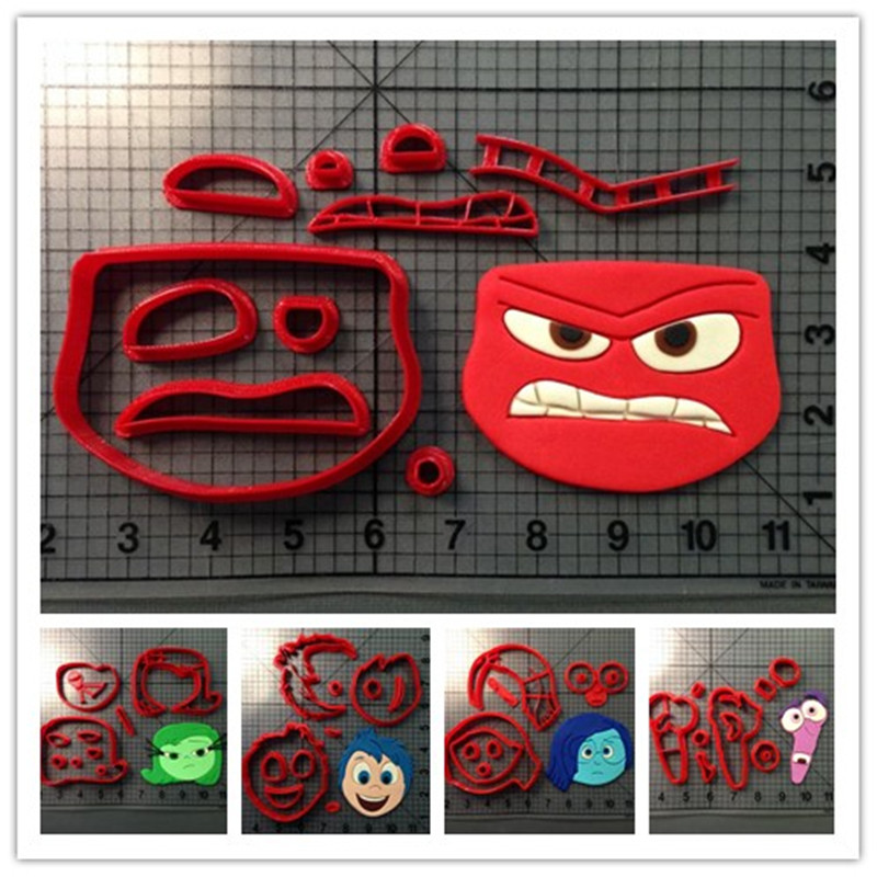 Inside Out Character Cookie Cutter Set Joy Sadness Anger Fear Disgust Design 3d Printed Fondant Cupcake Top Cake Decorating Tool Cookie Cutter Set Cookie Cuttercookie Print Aliexpress