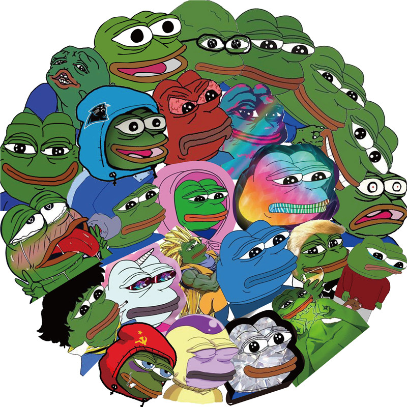 50Pcs Set Pepe Sad Frog Stickers Decal For Snowboard Luggage Bicycle Styling Laptop Stickers