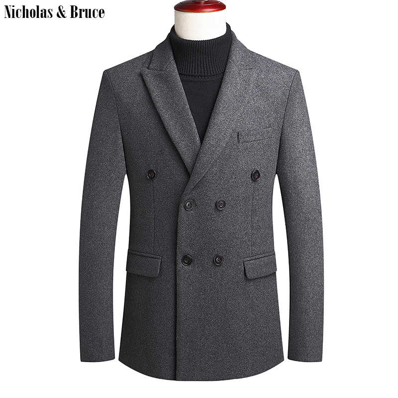 N & B мужское толстое шерстяное пальто, мужское стильное зимнее пальто, двубортное пальто, приталенное теплое мужское шерстяное пальто, куртки NZWT1