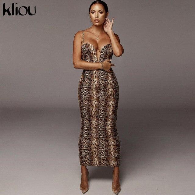 Kliou Sexy Serpentine print Women sleeveless Backless Elegant Slim Pencil Dress 2020 Adjustable shoulder strap banquet Dress 3