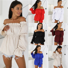 Lantern Sleeve Sexy Off Shoulder Womens Shirts Blusas Mujer Long Chiffon Blouses Tops Clubwear Party Strapless Camisetas