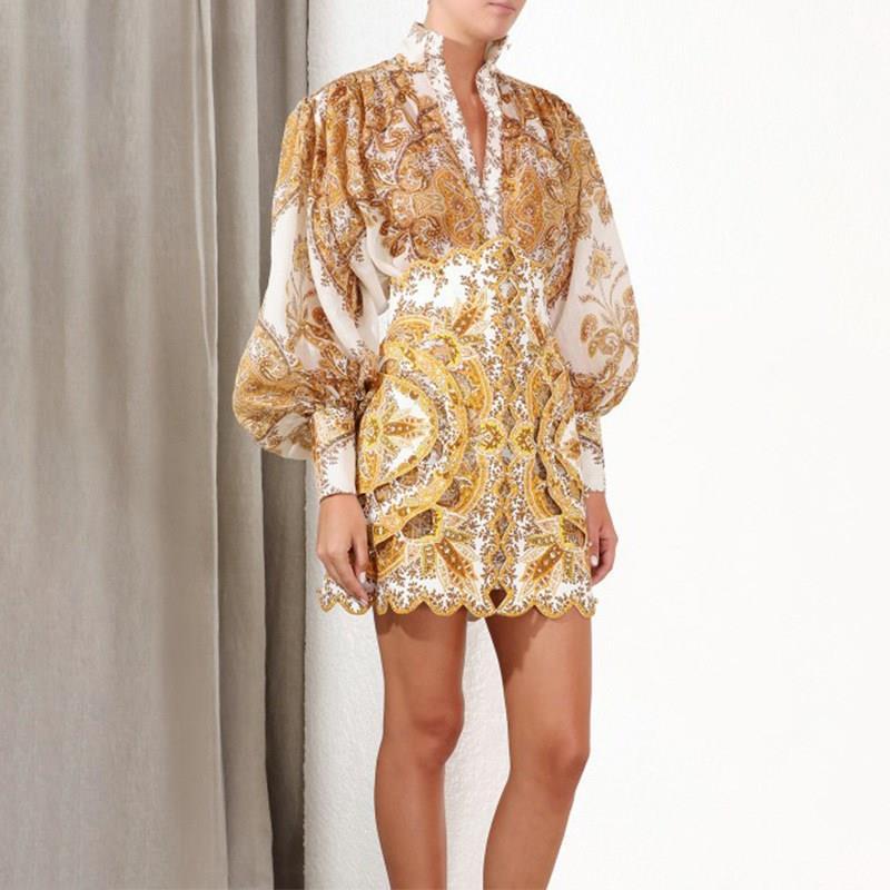 Automne femmes hauts et chemisiers à manches longues Baroque motif imprimé Blouse Blusas dames chemise