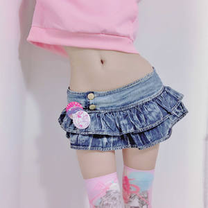 Denim Skirts Pleated Punk-Style Low-Waist Japanese Party-Wear A-Line Girl Bud Solid Night-Club