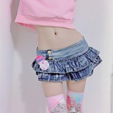 Japońska dziewczyna plisowana Super Mini spódniczki dżinsowe niskiej talii linia Bud spódnice solidna noc klubowy strój imprezowy spódnica Punk Style tanie tanio LILICOCHAN Poliamid Ruffles Wypada Stałe W stylu Punk Powyżej kolana Mini