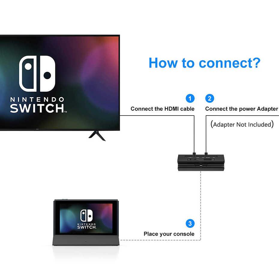 Vogek Portable Dock Station untuk Nintendo Switch dengan Tipe C untuk HDMI TV Adaptor USB 3.0 2.0 Pengisian Docking Playstand charger