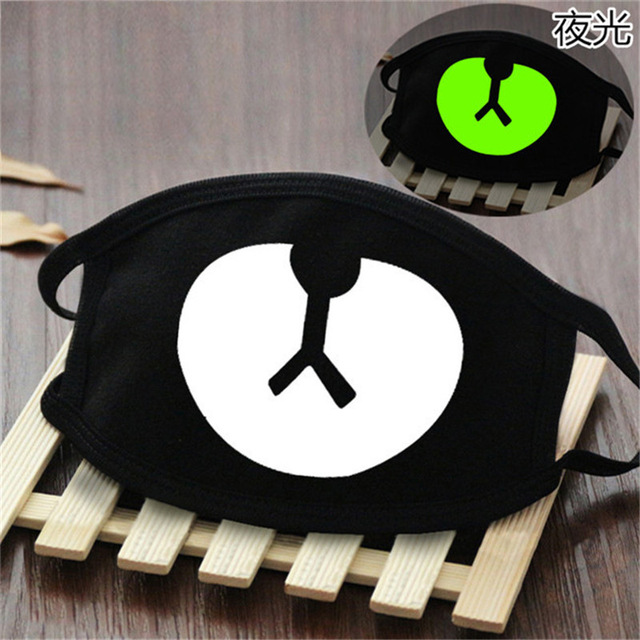 Cute Anime Cosplay Masks Cotton Washable Noctilucent Skull Bear Mask Breathable Dust-proof Street Sports Mask Props New 1