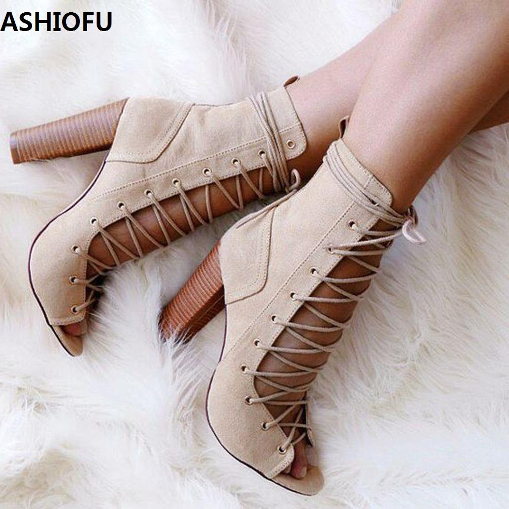 ASHIOFU Handmade Womens Chunky Heel Pumps Shoelace Straps Party Prom Dress Shoes Peep-toe Fashion Evening Court Shoes