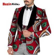 2019 Party Wedding African Clothes Mens Printed Blazer Men Jacket Vest 2 Pieces Fashion Slim Suits Dashiki WYN880