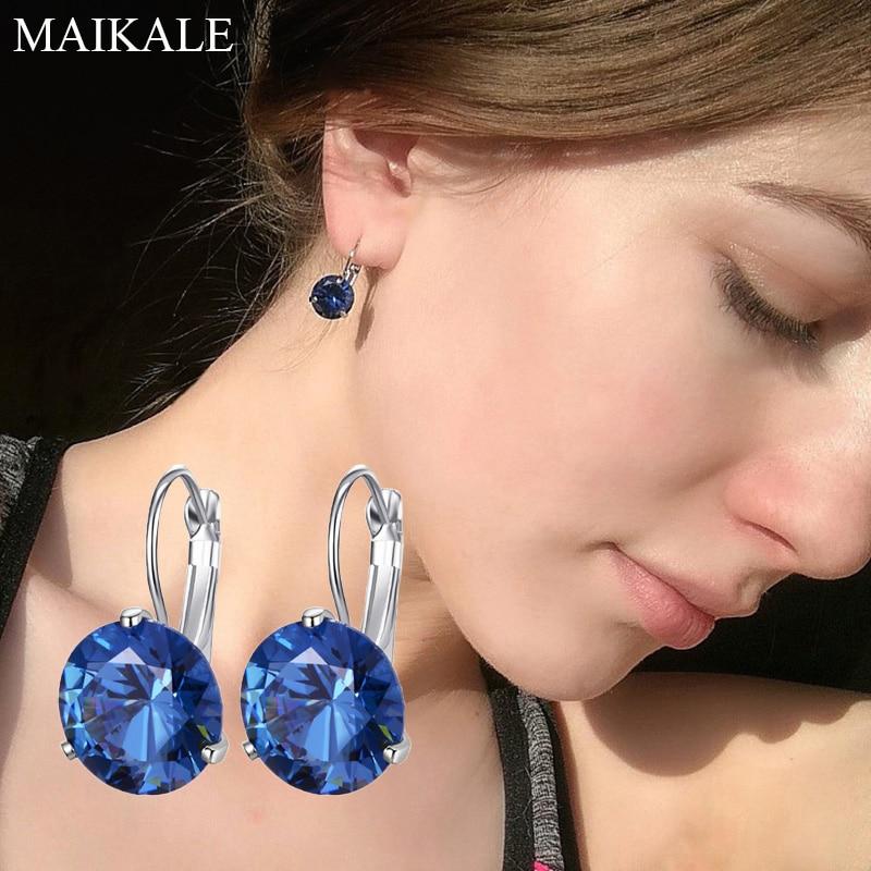 MAIKALE 10MM Korean Earrings Simple AAA Cubic Zirconia Copper Plated Gold Temperament Stud Earring For Women Send Gift