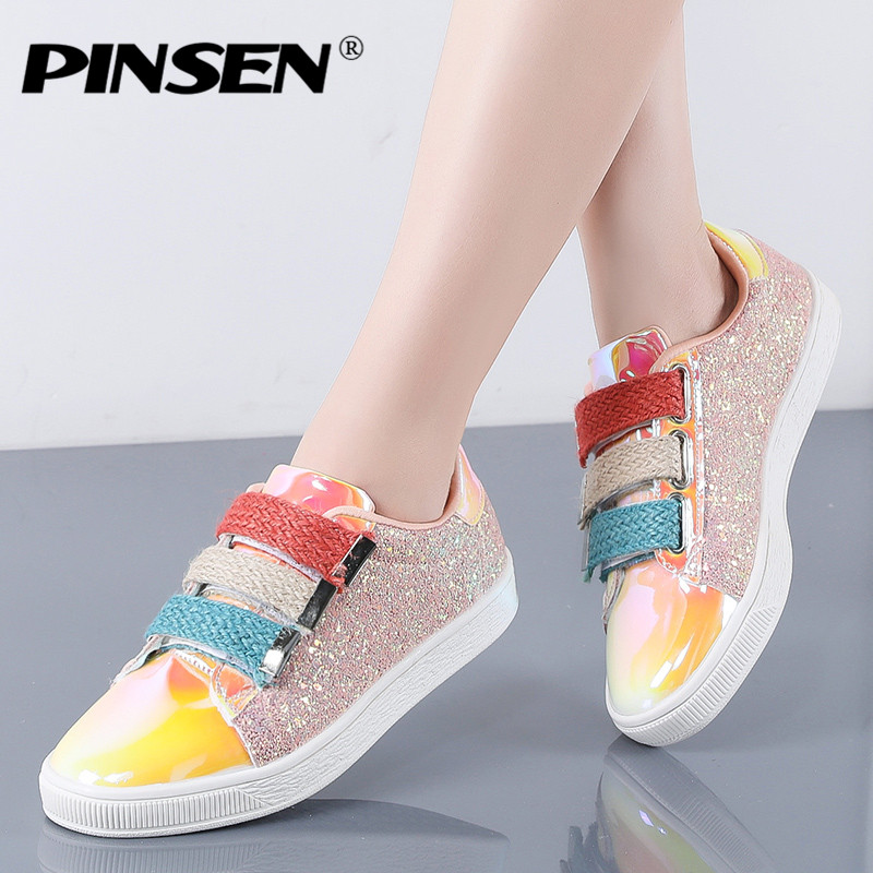 PINSEN Fashion 2020 New Sneakers Women Flats Shoes Casual Outdoor Walking Shoes Woman Gold Glitter Ladies Shoes Zapatos Mujer