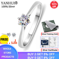 YANHUI Have Certificate 100% Original 925 Solid Silver 6mm 1.0ct CZ Diamant Engagement Wedding Rings for Women Fine Jewelry R040