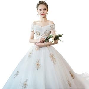 Image 5 - Tapete Cozinha/платье со звездами; Новинка 2020 года; Свадебное платье принцессы в Корейском стиле со шлейфом; Роскошное платье на плечо с тонким принтом Хепберн
