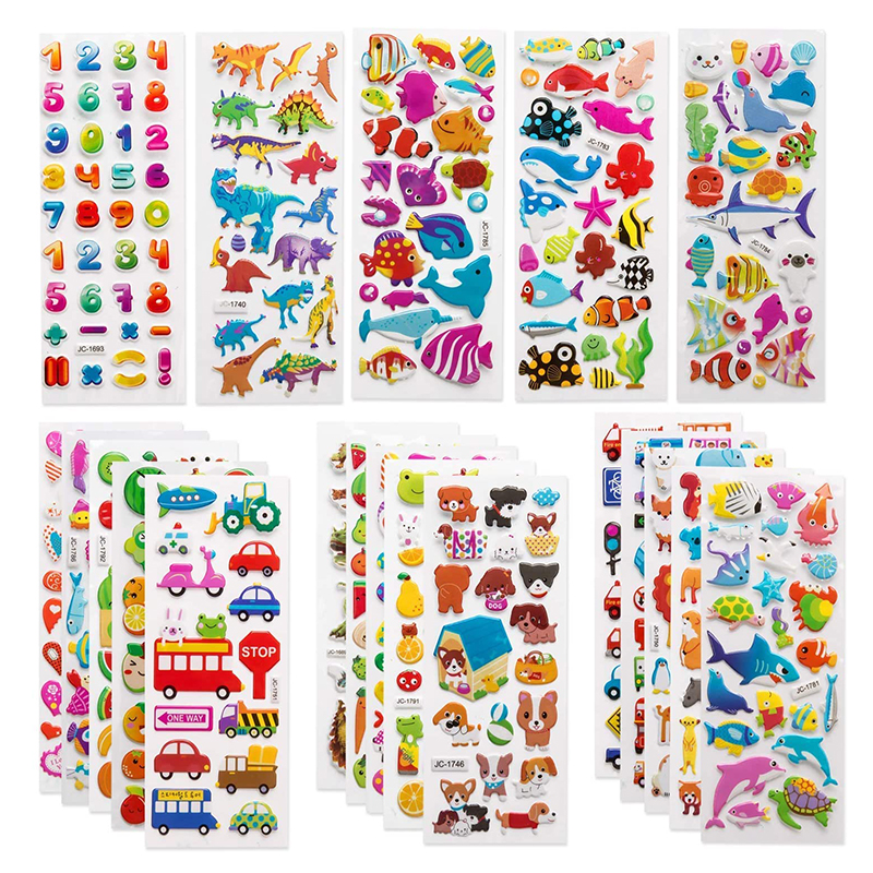 3D Stickers for Kids Toddlers 20/8 Different Sheets 3D Puffy Bulk Sticker Cartoon Education Classic Toy Children Boys Girl Gifts 1