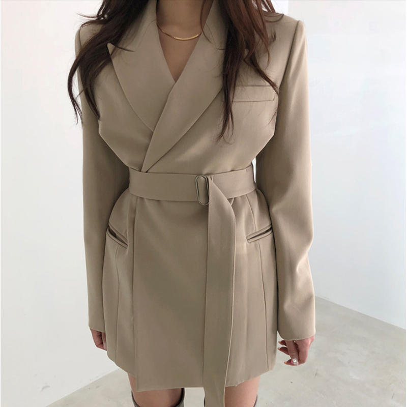 Vintage Lace Up Women Jacket Turn-down Collar Khaki Women Blazer 2019 Autumn Elegant Office Ladies Female Blazer Outerwear