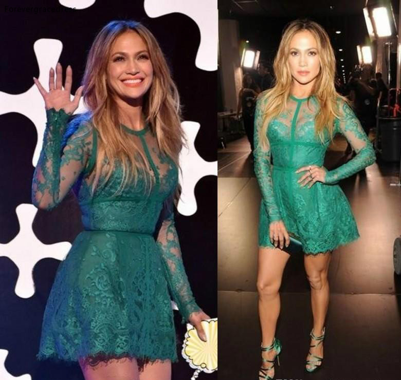 Jennifer Lopez Red Carpet Dress 2017 Fashionable A Line Lace Appliques Long Sleeve Green Short Cocktail Homecoming Dresses BA6745 99 (2)