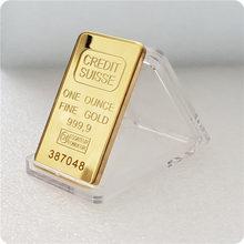 Réplica 24ct banhado a ouro crédito em camadas barra de lingotes suíça barra de barras de crédito arte moderna moeda comemorativa coletar