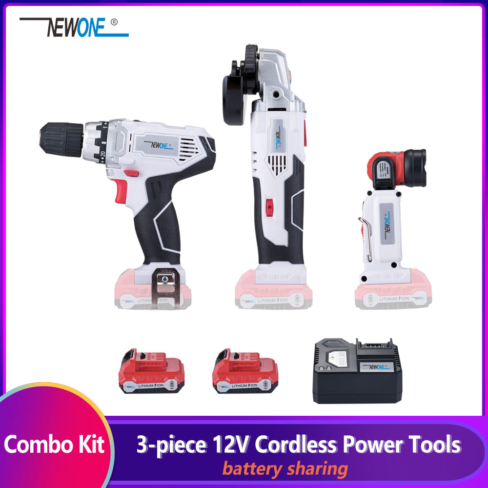 3-Piece KEINSO 12V Lithium-Ion Cordless Power Tool Combo Kit Angle Grinder Electric Drill LED Light Combination 2.0Ah Battery