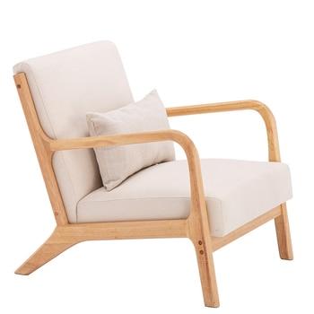 【US Warehouse】Single Fabric Oak Sofa Beige (66 x 68 75cm)  Drop Shipping USA