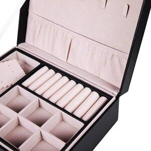 Image 4 - Grote Sieraden Capaciteit Opbergdoos Oorbellen Ketting Box Lederen Ring Sieraden Doos