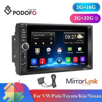 Podofo Android 2 Din Car Radio 2+16GB/2+32GB Android 7'' 2Din Car Radio Autoradio GPS Multimedia Player For Ford VW Golf image