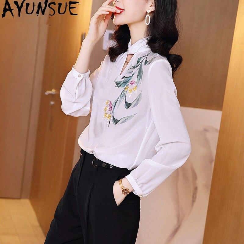 100% Real Silk Vintage Blouse Women Clothes 2020 Ladies Tops Spring Long Sleeve Shirt Women Blouses Elegant Shirts SJ19120113