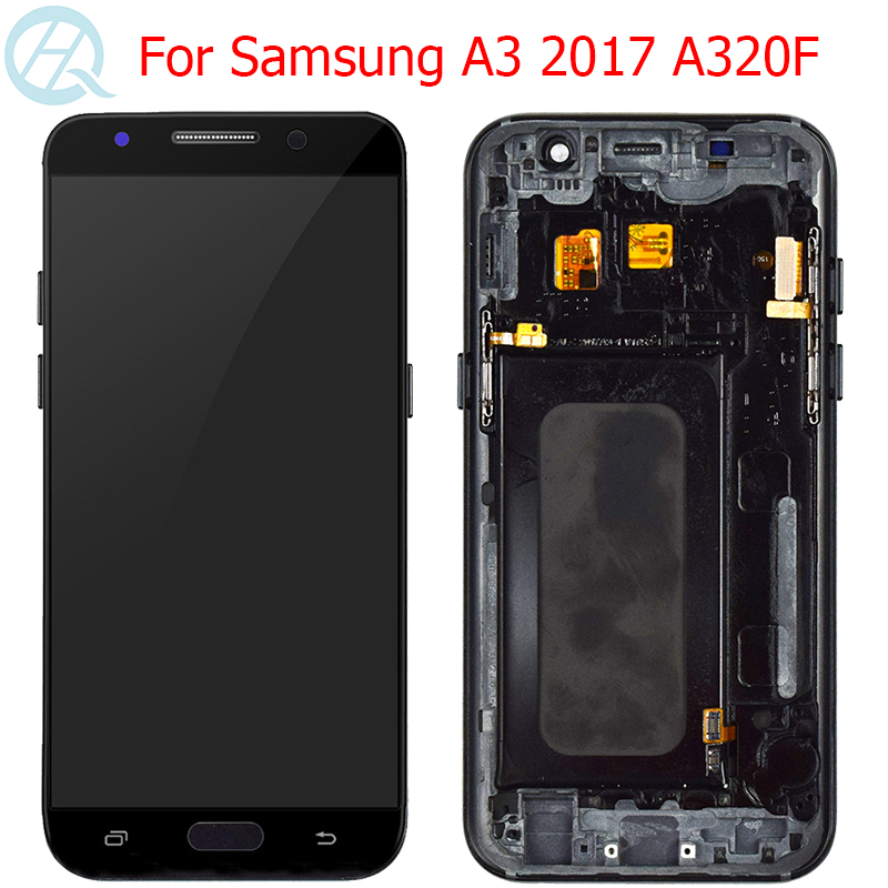 Original AMOLED A320F LCD For Samsung Galaxy A3 2017 Display With Frame 4.7