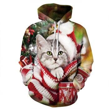 Jersey con capucha y estampado digital 3d de gato de Navidad para...