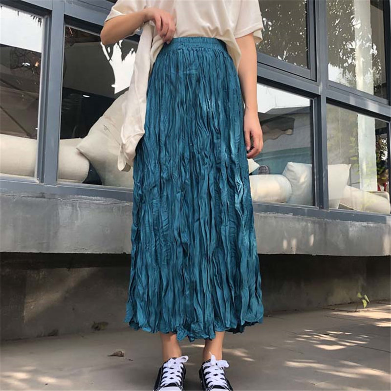 Alien Kitty Korean New Arrival High Waist Pleated Large Size Women Warm High Street Office Lady All-Match Long Skirts 6 Colors