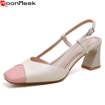 MoonMeek 2020 New Brand fashion women pumps genuine leather mixed colors ladies shoes summer shallow square toe party shoes