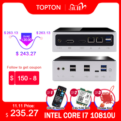 Topton New Intel Core i7 10810U i7 10710U Micro PC Barebone Windows TV BOX Dual Lan DP HDMI Dual Band WIFI Desktop Mini Computer