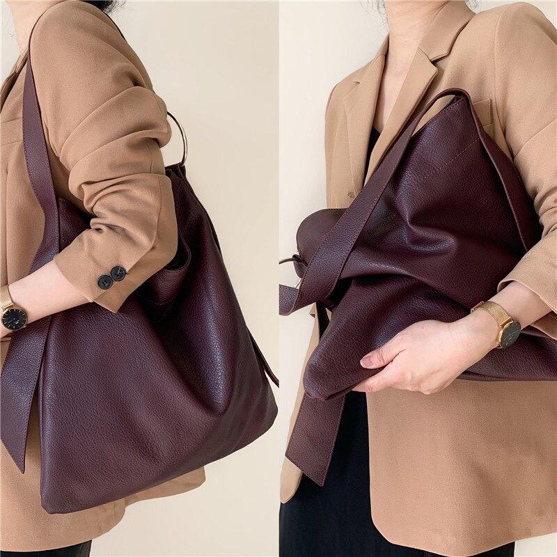 Женская сумка на плечо, вместительная, из мягкой искусственной кожи|Сумки с ручками|   | АлиЭкспресс - Аналоги сумок с показов мод осень-зима 2020/21