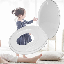 Toilet Seat with Built-in Training Seat Space Saving Solution V Shape White