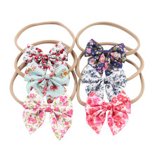 Print Swllowtail Baby Headbands For Girls Handmade Elastic Cotton Bow Handwear Headband Flower Newborn Hair Accessories New