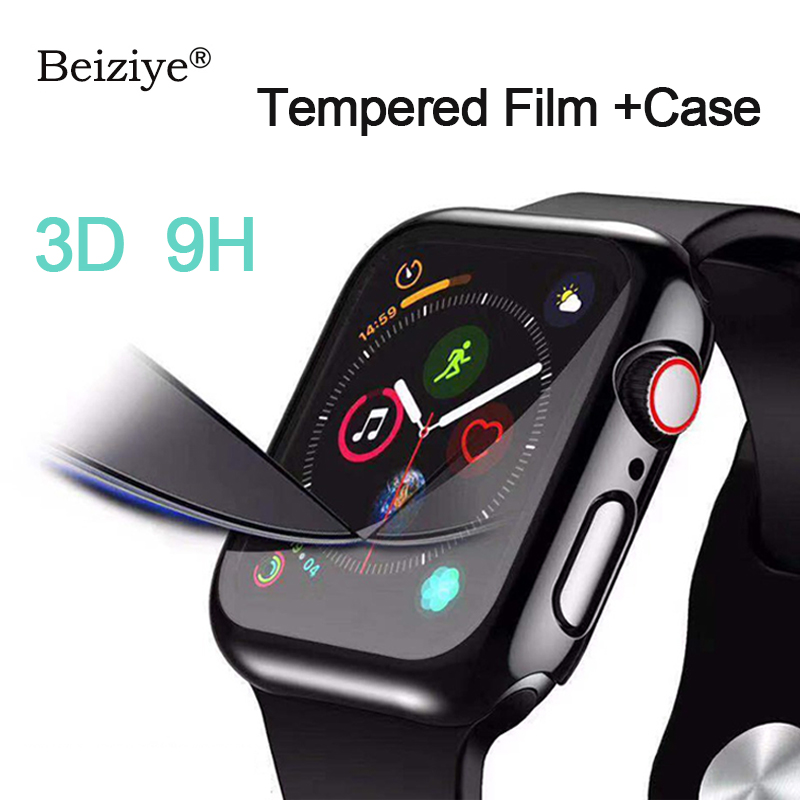 Tempered Glass+Case For Apple Watch 38mm 42mm 40mm 44mm Series 4 5 Full Cover Curved Edge Frame Screen Protector For IWatch